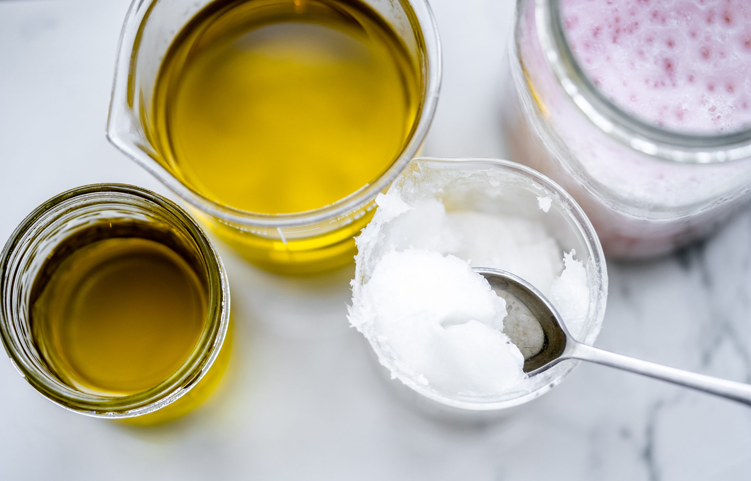 jars of organic oil and coconut oil
